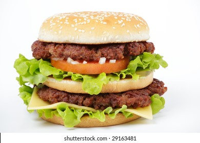 Double cheeseburger isolated on white background
