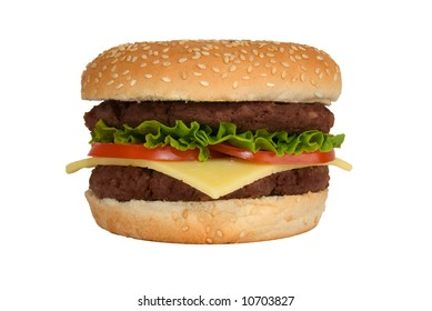 A double cheeseburger with lettuce and tomato isolated on a white background