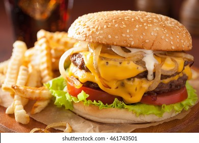 double cheeseburger with tomato and onion