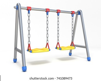 Double children swing 3D render illustration isolated on white background