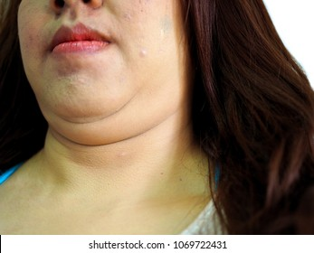 Double chin, fat woman, woman with exercise concept