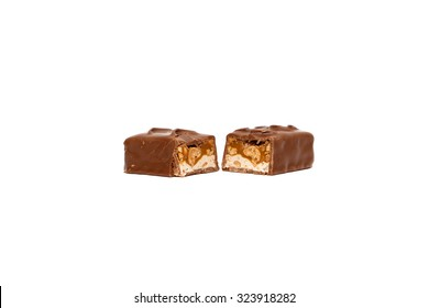 Double chocolate bar with nuts isolated on white background