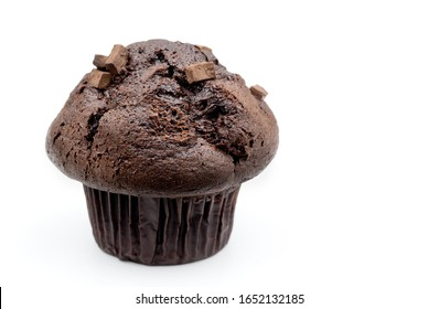 Double chocolate chunk muffin on white