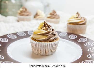 Double chocolate cupcakes on the plate - with frosting of white and dark chocolate