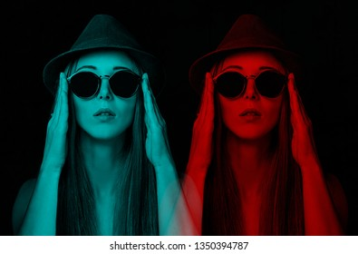 Double color and anaglyph effect of stylish young woman in glasses.