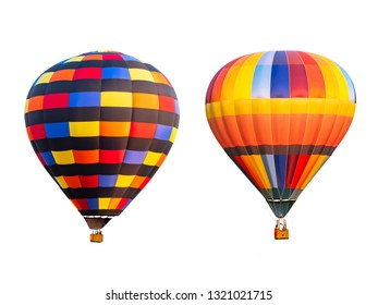 Double of colorful hot air balloon on isolated / white background