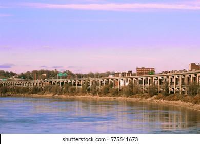 Double Decker bridge along Missouri River, Saint Joseph, Missouri