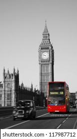 Double Decker Bus, most iconic symbol of London, and Big Ben in far behind