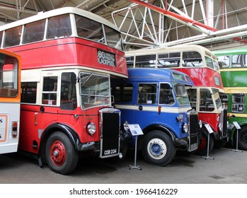 Double decker busses in the Manchester transport museum