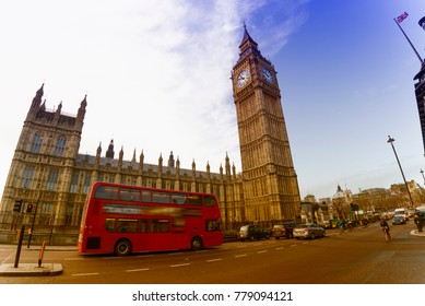 Double decker in front of Westminster.