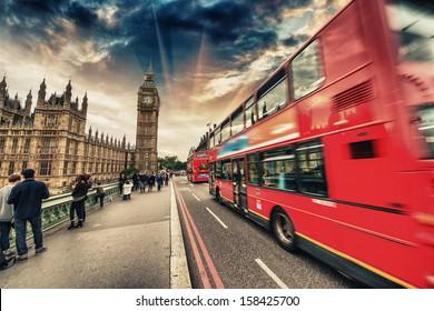 Double Decker Red Bus speeding up in Westminster Bridge - London.