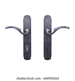 Double door handle with key lock with clipping path