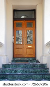 Double Door House Entrance With Stairs