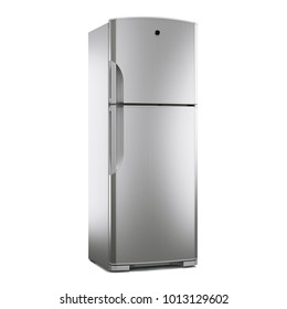 Double Door Refrigerator Isolated on White Background. Side View of Stainless Steel Fridge Freezer. Top Mount Refrigerator. Domestic Appliances. Smart Refrigerator. Kitchen Appliances