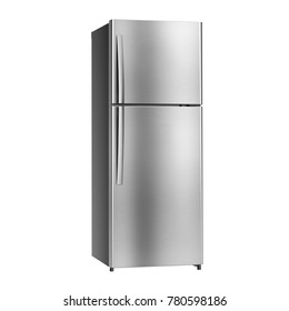 Double Door Refrigerator Isolated on White Background. Side View of Stainless Steel Fridge Freezer. Electric Appliances. Domestic Appliances. Kitchen Appliances