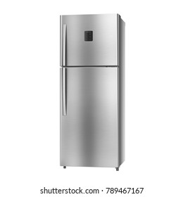 Double Door Refrigerator Isolated on White Background. Side View of Side-by-Side Stainless Steel Top Mount Fridge Freezer. Electrical Kitchen and Domestic Appliances