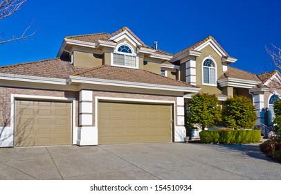Double doors and one door garage. North America.