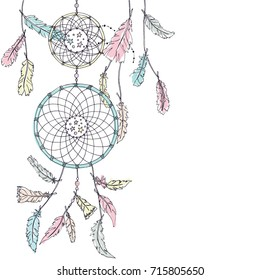 Double Dream catcher in pastel colors with many feathers