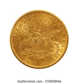 double eagle, 20 dollars gold coin from 1892, reverse, isolated on white