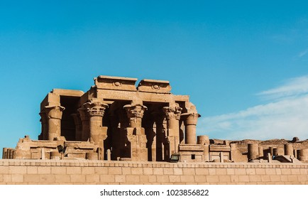 The double entrance to Kom Ombo Temple located in Aswan, Egypt