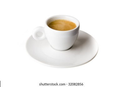 Double espresso in classic white cup isolated on white