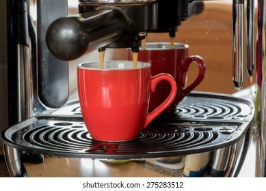 double espresso in a machine