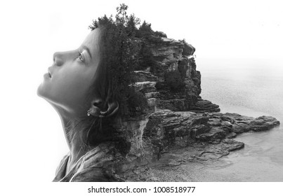 Double explosion image with girl and landscape.