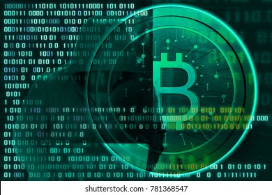Double Exposeure Hacker attack network and bit coin , finance concept.