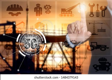 Double exposure of  5G businessman construction management concept . 5G networks are the next generation of mobile internet connectivity, offering faster speeds and more reliable connections