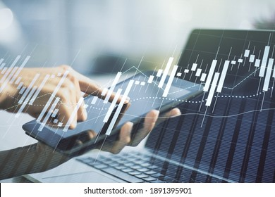 Double exposure of abstract creative financial chart with finger clicks on a digital tablet on background, research and strategy concept