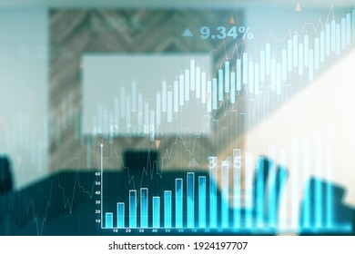 Double exposure of abstract creative financial chart hologram on a modern meeting room background, research and strategy concept