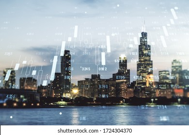 Double exposure of abstract creative statistics data hologram on Chicago office buildings background, analytics and forecasting concept