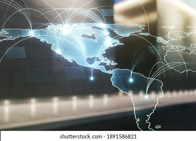 Double exposure of abstract digital world map hologram with connections on contemporary business center exterior background, big data and blockchain concept