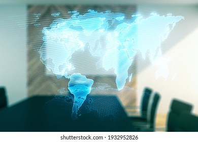 Double exposure of abstract digital world map on a modern meeting room background, research and strategy concept