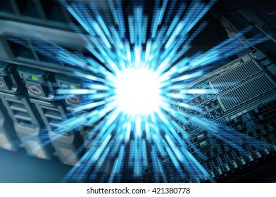 Double exposure abstract light zoom and binary digital data background, technology concept