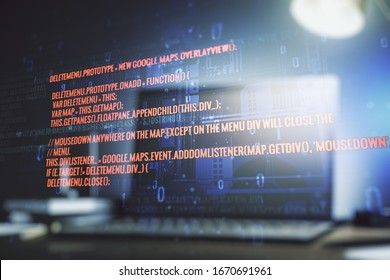 Double exposure of abstract programming language on laptop background, research and development concept