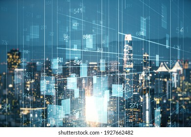 Double exposure of abstract virtual statistics data hologram on San Francisco city skyscrapers background, statistics and analytics concept