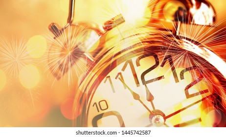 Double exposure of alarm clock , fireworks and shiny gold bokeh background for countdown new year, time, celebration, holiday concept