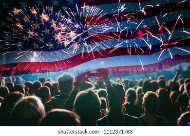 Double exposure with the American flag and cheering crowd and fireworks. Background for independence day - 4th of July.