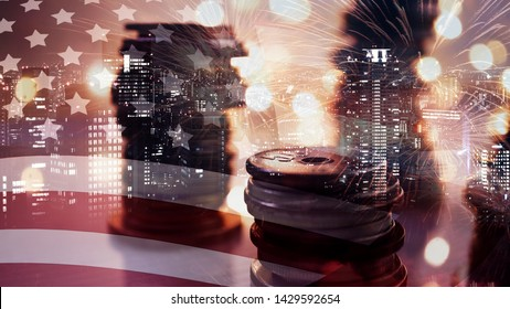 Double exposure of American flag, fireworks and rows of money coins on light bokeh for celebration of 4th July Independence day, finance , money , investment and business concept background