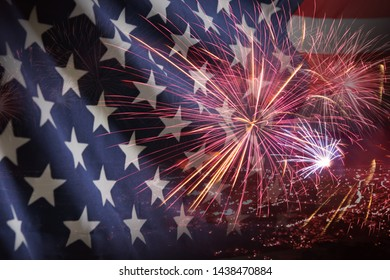 double exposure of American (USA) flag with firework for Memorial Day on 4th of July , Independent day background