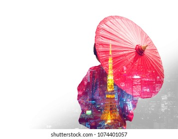 double exposure of Asia woman with kimono and red Japanese umbrella against Tokyo tower and Japan city night background