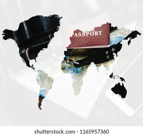 Double exposure of bag and passport with map of world, concept of travel.