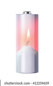 Double exposure of battery and burning candle, isolated on white