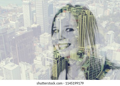 Double exposure of a beautiful girl and a city with skyscapers. Auckland, New Zealand
