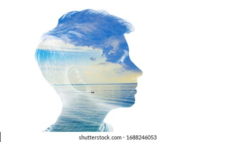 Double exposure beautiful woman head face silhouette portrait white isolated with sea water and cloud day nature. Mind psychology, stress therapy, human spirit, well mental health, life zen iq concept