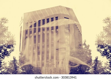 double exposure of beautiful woman upon a tall building with a retro instagram filter