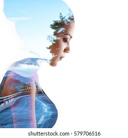 Double exposure beauty portrait of young mulatto woman in profile and mountain winter road in forest, toned. Dreaming girl. Meditation, spirituality psychological health concept