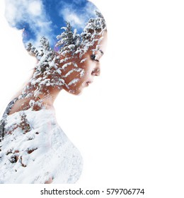 Double exposure beauty portrait of young mulatto woman in profile and snow winter forest, toned. Dreaming girl. Winter female portrait  Meditation, spirituality psychological health concept