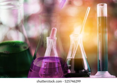 Double exposure of Bio tube in science with laboratory test tube and laboratory background